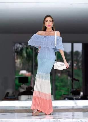 Vestido longo de tricot crochê modelo ciganinha