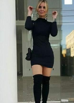 Vestido gola alta manga longa varias cores leia promoção