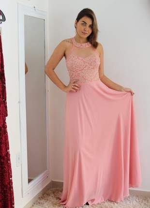Vestido de festa longo rosa madrinha formatura princesa