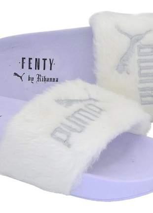 Chinelo slide puma rhiana feminino pelinho pelucia confort 40%off