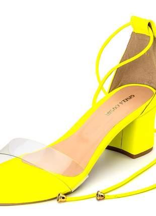 Sandália social tira transparente amarelo neon amarrar na perna