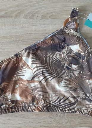 Top cropped biquíni ombro só detalhe argola marrom