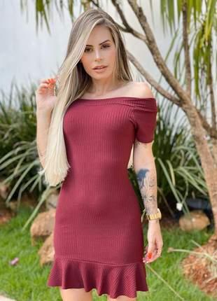 Vestido feminino bordô curto canelado babadinho manguinha tubinho ref 45q
