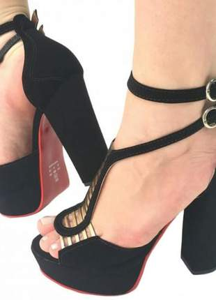 Sandália feminina salto alto grosso meia pata nº38
