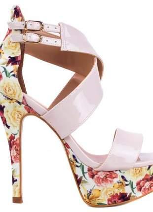 Sandália meia pata salto alto festa (cor rosê/floral)