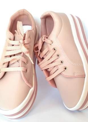 Tênis feminino flatform sola alta (rosa claro)