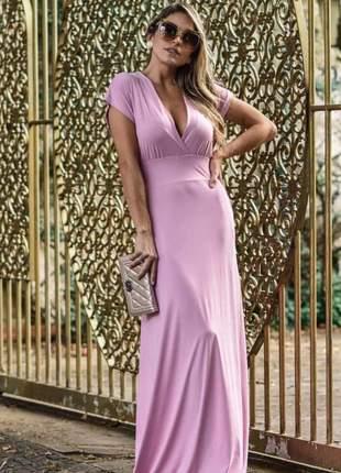 Vestido longo fluído na cor pink com manguinhas e decote v em tecido poliamida