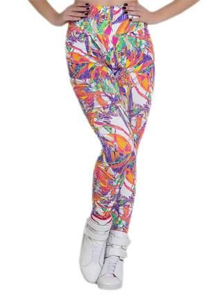 Calça feminina fitness legging estampada em folhagem