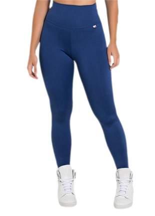 Calça feminina fitness lisa legging azul marinho