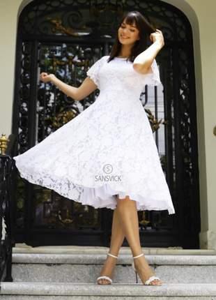 Vestido godê princesa renda branco casamento e festas