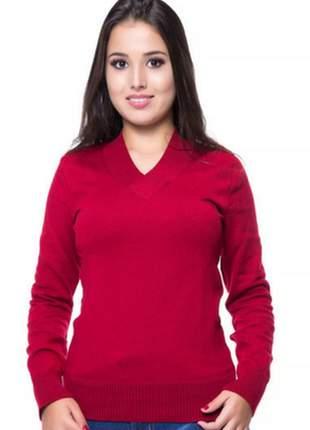 Blusa básica decote v vermelha