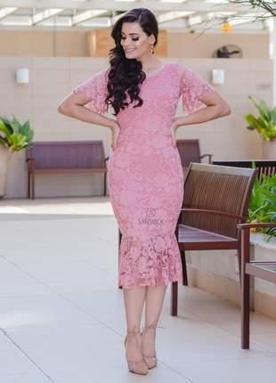 Vestido tubinho sino midi renda babado rosê tendência casamento festa