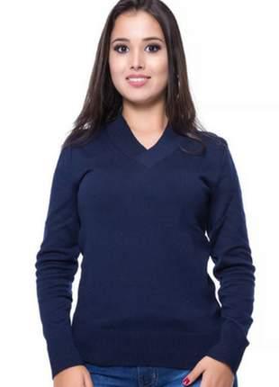 Blusa básica decote v marinho
