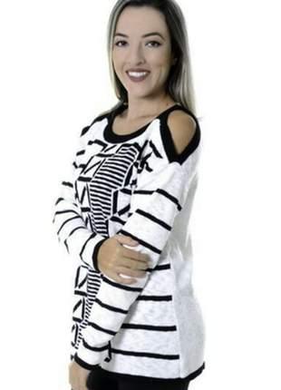 Blusa recorte feminina renda crochê manga longa 2018