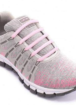 Tênis esportivo feminino corrida caminhada treino academia (cor gelo/rosa)