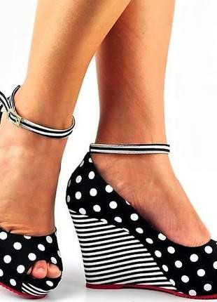 Sandália feminina anabela poá salto alto