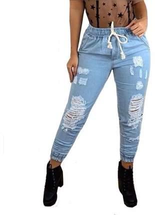 Calça feminina jogger jeans destroyed cintura alta blogueir #la