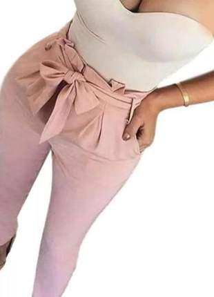 Calça social laço feminina cintura alta lançamento skinny #la