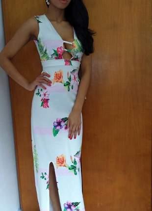 Vestido feminino longo decote florido estampas digitais