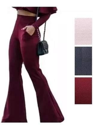 Calça flare feminina cintura alta bolso falso |#la
