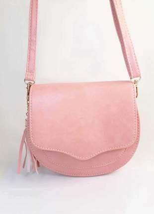 Bolsa bag michele rosa - bolsa feminina pequena, tiracolo, de couro ecológico