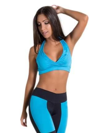 Top fitness de pescoço para malhar azul celeste