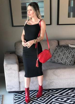 Vestido feminino midi canelado alçinha sem bojo ref10b