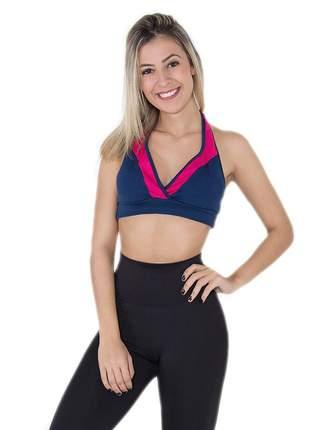 Top fitness liso azul marinho e rosa pink