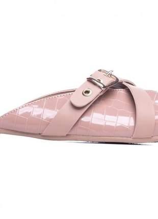 Sapatilha feminina mule croco rosê;