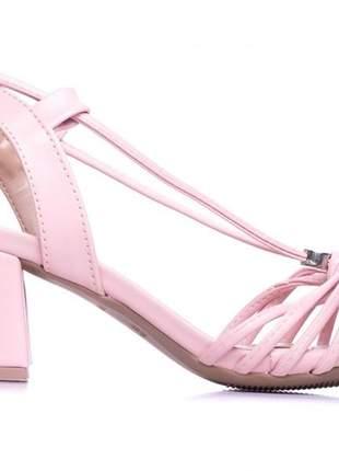 Sandália feminina  rosa salto bloco 5,5 cm