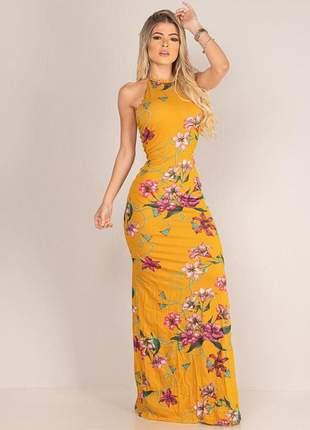 Vestido  longo com fenda lateral e detalhes de tirinhas nas costas primavera verão 2019
