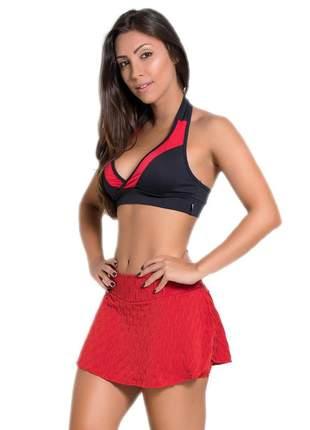 Top fitness liso preto e vermelho