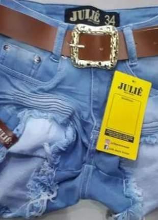 Shorts jeans claro cintura alta da julie