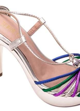 Sandália meia pata  napa ouro e tiras color;