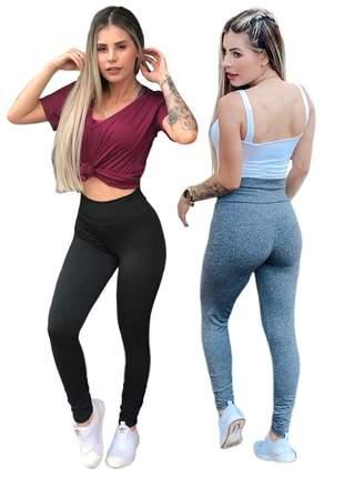 2 calça legging suplex básico cintura alta  fitness ref 56