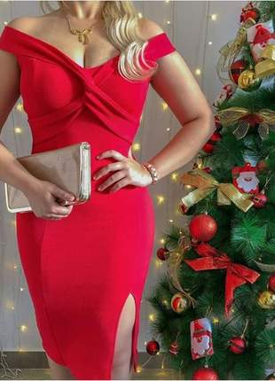 Vestido vermelho especial de natal modelo ombro a ombro
