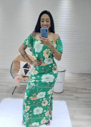 Vestido longo ciganinha com fenda lateral