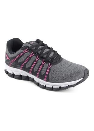 Tênis preto feminino esportivo caminhada academia casual let's preto/pink