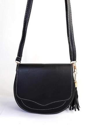 Bolsa bag michele preta - bolsa feminina pequena, tiracolo, de couro ecológico