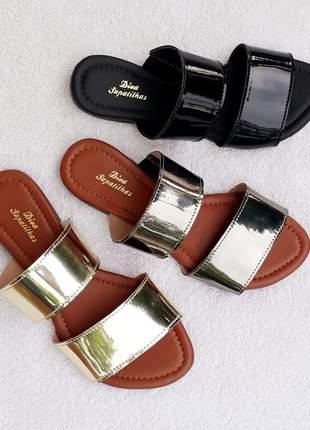 Kit 3 pares sandália rasteira chinelo slide tiras