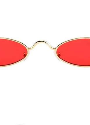 Óculos oval redondo pequeno trap hype retro vermelho preto #la