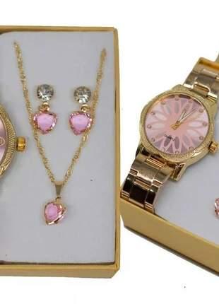 Relógio feminino dourado + kit colar e brinco foliado + caix #la