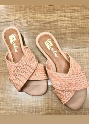 Rasteira sandalia rasteirinha preta rose