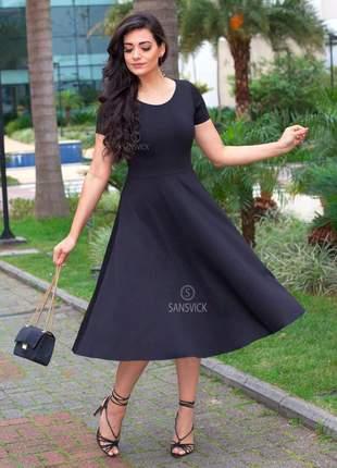 Vestido princesa godê midi lady like rodado preto