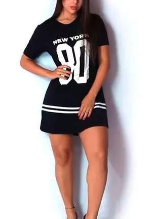 Kit c/3 camisa longline vestido camisão feminino ny kings swag 099