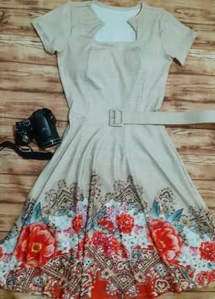 Vestido gode com cinto