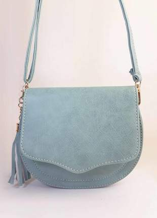 Bolsa bag michele azul - bolsa feminina pequena, tiracolo, de couro ecológico