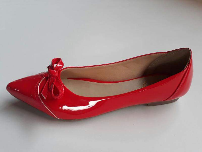 d2d0f7eb5 Sapatilha feminina bico fino verniz vermelha - R$ 65.00 ...