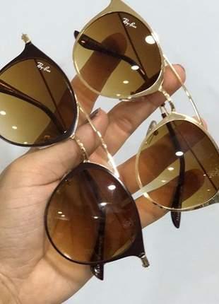 Óculos de sol rayban oval lentes marrom