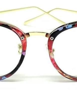 Óculos feminino armação grau quadrado vintage dio  floral